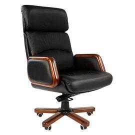 Компьютерное кресло для руководителя Chairman 417 натуральная кожа и деревянные элементы, Цвет товара: Черный