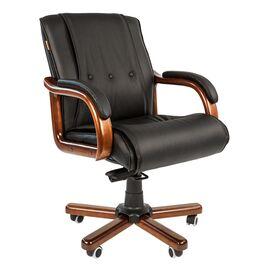 Компьютерное кресло для руководителя Chairman 653 M низкая спинка для конференц-залов и переговоров, Цвет товара: Черный