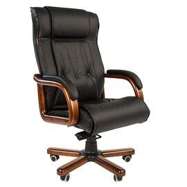 Компьютерное кресло для руководителя Chairman 653 натуральная кожа и деревянные элементы, Цвет товара: Черный
