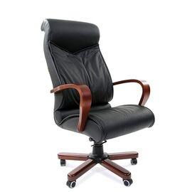 Компьютерное кресло для руководителя Chairman 420 WD Натуральная кожа черного цвета, Цвет товара: Черный