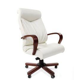 Компьютерное кресло для руководителя Chairman 420 WD Натуральная кожа белого цвета, Цвет товара: Белый