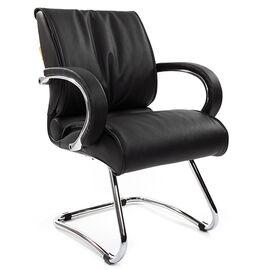 Офисное кресло для посетителей Chairman 445 Черная кожа, Цвет товара: Черный