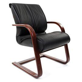 Офисное кресло для посетителей Chairman CH 445 WD кожа черная матовая, Цвет товара: Черный матовый
