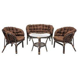 Комплект кофейный из ротанга БАГАМА 03/10 Б (S) (стол, 2 кресла, диван, подушка твил) Ecodesign, Цвет товара: Темно коричневый/Темно коричневый