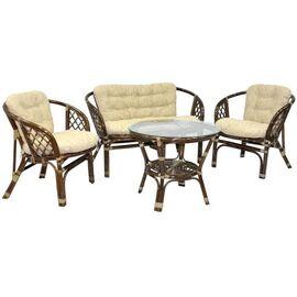 Комплект кофейный из ротанга БАГАМА (стол+2 кресла+диван), 03/10 Б Ecodesign, Цвет товара: Браун