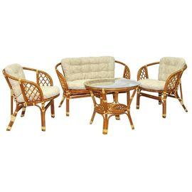 Комплект кофейный из ротанга БАГАМА (стол+2 кресла+диван), 03/10 К Ecodesign, Цвет товара: Коньячный
