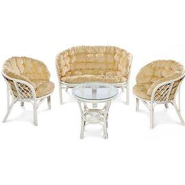 Комплект кофейный из ротанга БАГАМА (стол+2 кресла+диван), 03/10 W Ecodesign, Цвет товара: Белый