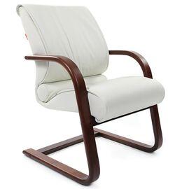 Офисное кресло для посетителей Chairman CH 445 WD кожа белая, Цвет товара: Белый