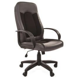 Компьютерное кресло для руководителя Chairman 429 Экопремиум, серый+ткань 10-356 черная, Цвет товара: Черный