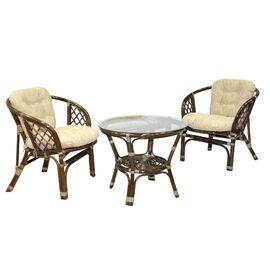 Комплект кофейный из ротанга БАГАМА 03/10-1 Б (стол, 2 кресла, подушка рогожка) Ecodesign, Цвет товара: Темно коричневый/Бежевый