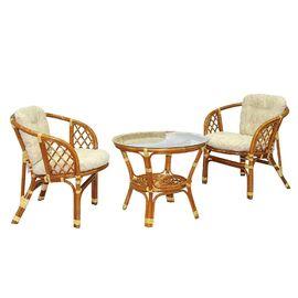Комплект кофейный из ротанга БАГАМА 03/10-1 К (стол, 2 кресла, подушка рогожка) Ecodesign, Цвет товара: Бежевый / Коньячный