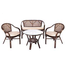 Комплект кофейный ELLENA-11/21 Б (кофейный стол + 2 кресла+диван) Тёмно-Коричневый Ecodesign, Цвет товара: Темно коричневый