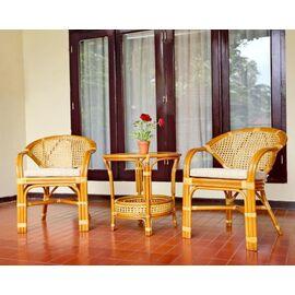 Комплект кофейный из ротанга (стол Пеланги-02/15А и 2 кресла Java-11/24-В (2) К) Коньячный Ecodesign