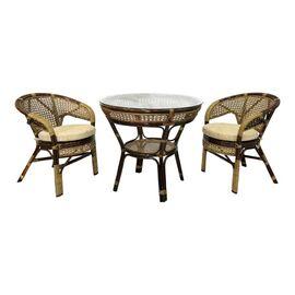 Комплект обеденный из ротанга (стол + 2 кресла) JAVA, 1 Б темно-Коричневый Ecodesign