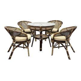 Комплект обеденный из ротанга (стол + 2 кресла) JAVA, 2 Б темно-Коричневый Ecodesign