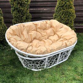 Кресло Mamasan Patio-23-02 met 4 цвет плетения белый, цвет подушки бежевый EcoDesign, Цвет товара: Белый / Бежевый