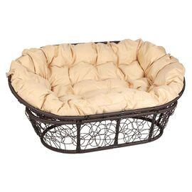 Кресло Mamasan Patio-23-02 met 1 цвет плетения Коричневый, цвет подушки бежевый EcoDesign, Цвет товара: Темно коричневый/Бежевый