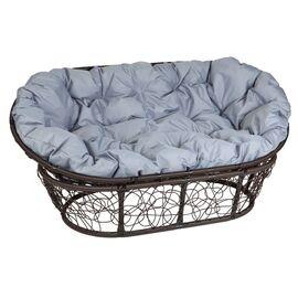 Кресло Mamasan Patio-23-02 met 3 цвет плетения Коричневый, цвет подушки серый EcoDesign, Цвет товара: Темно коричневый/Серый