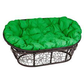 Кресло Mamasan Patio-23-02 met 2 цвет плетения Коричневый, цвет подушки зеленый EcoDesign, Цвет товара: Темно-коричневый/Зеленый