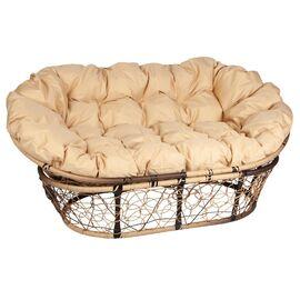 Кресло Mamasan Patio-23-02 met 10 цвет плетения светло-Коричневый, цвет подушки бежевый EcoDesign, Цвет товара: Светло-коричневый/Бежевый