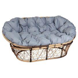Кресло Mamasan Patio-23-02 met 12 цвет плетения светло-Коричневый, цвет подушки серый EcoDesign