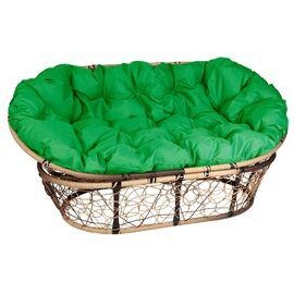 Кресло Mamasan Patio-23-02 met 11 цвет плетения светло-Коричневый, цвет подушки зеленый EcoDesign, Цвет товара: Светло-коричневый/Зеленый