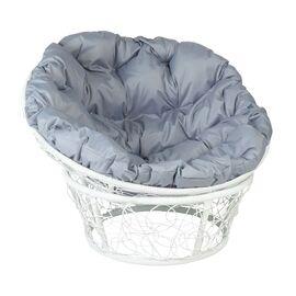 Кресло Papasan Patio-23-01 met 6 цвет плетения белый, цвет подушки серый EcoDesign, Цвет товара: Белый/Серый