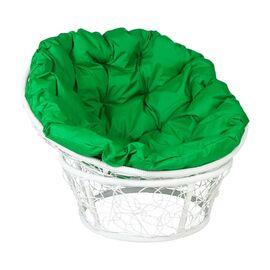 Кресло Papasan Patio-23-01 met 5 цвет плетения белый, цвет подушки зеленый EcoDesign, Цвет товара: Белый / Зелёный