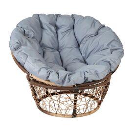 Кресло Papasan Patio-23-01 met 12 цвет плетения светло-Коричневый, цвет подушки серый EcoDesign, Цвет товара: Коньячный/Серый
