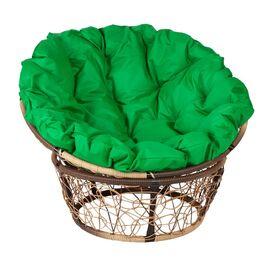 Кресло Papasan Patio-23-01 met 11 цвет плетения светло-Коричневый, цвет подушки зеленый EcoDesign, Цвет товара: Коньячный/Зеленый