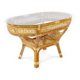 Стол кофейный из ротанга овальный ПЕЛАНГИ, 02-15А 1К коньячный Ecodesign, Цвет товара: Коньячный