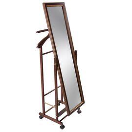 Вешалка костюмная с зеркалом В 24Н Mebelik Средне-коричневый 480х350х1370, Цвет товара: Средне-коричневый