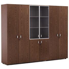 Шкаф для бумаг со стеклом и двумя гардеробами Exe Profoffice H.197 ОРЕХ МАРОНЕ/ХРОМ (101 733 MAR) 2420x440x1970, Цвет товара: ОРЕХ МАРОНЕ/ХРОМ