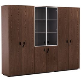 Шкаф для бумаг со стеклом и двумя гардеробами Exe Profoffice H.197 ОРЕХ МАРОНЕ/ЧЕРНЫЙ (101 733 MAR 09) 2420x440x1970, Цвет товара: ОРЕХ МАРОНЕ/ЧЕРН