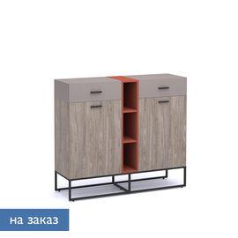 Шкаф низкий Calipso Profoffice (138H006) Орех Барселон/Кирпич 1410x440x1240, Цвет товара: Орех Барселон/Кирпичный