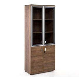 Шкаф для документов со стеклом в алюминиевой раме TERRA Profoffice 800x440x1980 Капучино, Цвет товара: Капучино