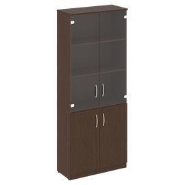 Шкаф для документов высокий широкий (2 низкие двери ЛДСП, 2 средние двери стекло) NOVA S Riva В.СТ-1.2 Венге 770х360х1915, Цвет товара: Венге