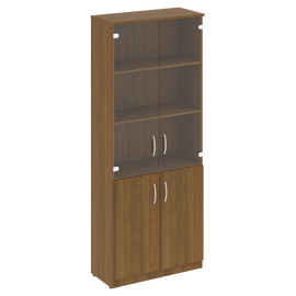 Шкаф для документов высокий широкий (2 низкие двери ЛДСП, 2 средние двери стекло) NOVA S Riva В.СТ-1.2 Орех Гварнери 770х360х1915, Цвет товара: Орех  Гварнери