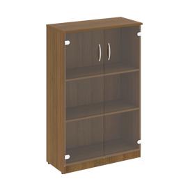 Шкаф для документов средний широкий (2 средние двери стекло) NOVA S Riva В.СТ-2.4 Орех Гварнери 770х360х1203, Цвет товара: Орех  Гварнери