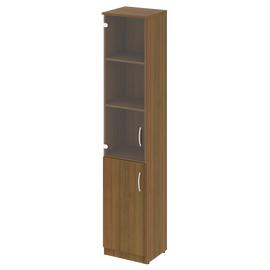 Шкаф для документов высокий узкий (1 низкая дверь ЛДСП, 1 средняя дверь стекло) NOVA S Riva В.СУ-1.2Л Орех Гварнери 388х360х1915, Цвет товара: Орех