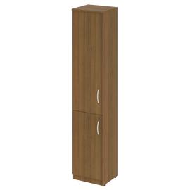 Шкаф для документов узкий высокий (1 низкая дверь ЛДСП, 1 средняя дверь ЛДСП) NOVA S Riva В.СУ-1.3Л Орех Гварнери 388х360х1915, Цвет товара: Орех  Гварнери