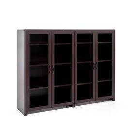 Шкаф средний двойной со стеклом LEGNO ПАЛИСАНДР (102 702 PL) 1830x450x1470, Цвет товара: Палисандр