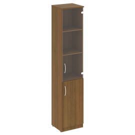 Шкаф высокий узкий для документов (1 низкая дверь ЛДСП, 1 средняя дверь стекло)NOVA S В.СУ-1.2Пр Орех Гварнери 388х360х1915, Цвет товара: Орех