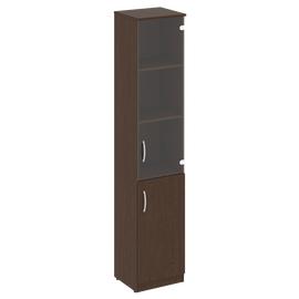 Шкаф высокий узкий для документов (1 низкая дверь ЛДСП, 1 средняя дверь стекло)NOVA S В.СУ-1.2Пр Венге 388х360х1915, Цвет товара: Венге