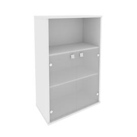 Шкаф средний широкий для документов (2 низкие двери стекло) STYLE Л.СТ-2.2 Белый 778х410х1215, Цвет товара: Белый