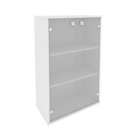 Шкаф средний широкий для документов (2 средние двери стекло) STYLE Л.СТ-2.4 Белый 778х410х1215, Цвет товара: Белый