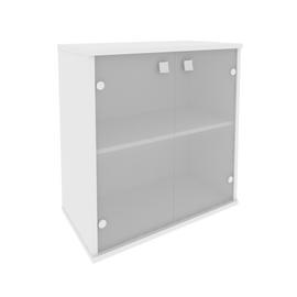 Шкаф для документов низкий широкий (2 низкие двери стекло) STYLE Л.СТ-3.2 Белый 778х410х828, Цвет товара: Белый
