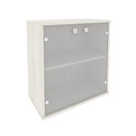 Шкаф для документов низкий широкий (2 низкие двери стекло) STYLE Л.СТ-3.2 Дуб Наварра 778х410х828, Цвет товара: Дуб наварра