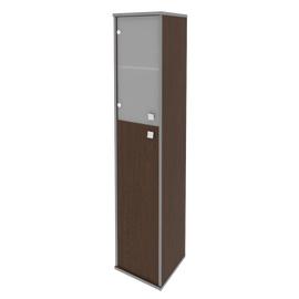 Шкаф для документов высокий узкий левый (1 средняя дверь ЛДСП, 1 низкая дверь стекло) STYLE Л.СУ-1.7Л Венге 412х410х1980, Цвет товара: Венге