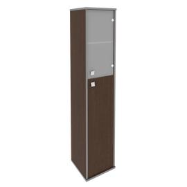 Шкаф для документов высокий узкий правый (1 средняя дверь ЛДСП, 1 низкая дверь стекло) STYLE Л.СУ-1.7Пр Венге 412х410х1980, Цвет товара: Венге